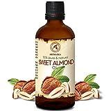 Huile Amande Douce 100ml - Pressée Froid - 100% Naturelle - Huile de Prunus Amygdalus Dulcis - Italie - Soins Intensifs pour Visage - Cheveux - Peau - Corps - Soins Personnels