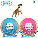 SCENEREAL Dog Water Toys Bouncing Balls - Floating Pool Toys for Dogs - Interactive Dog Summer Games Toys - 2 Pack Colorful Non-Toxic Chew Toy for Small Medium Dogs