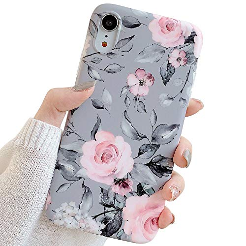 YeLoveHaw iPhone XR Case for Girls, Flexible Soft Slim Fit Full-Around Protective Cute Shell Phone Case Cover with Purple Floral and Gray Leaves Pattern for iPhone XR 6.1 Inch (Pink Flowers)
