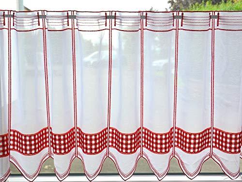 Scheibengardine Landhaus blau/rot/grün Höhe 45cm | Breite der Gardine frei wählbar in 16cm Schritten | Gardine | Panneaux (rot)