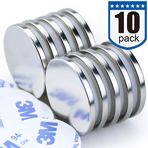 DIYMAG Powerful N52 Neodymium Disc Magnets Strong Permanent Rare Earth Magnets Fridge DIY Building Scientific Craft and Office Magnets  126 inch x 1/8 inch Pack of 10