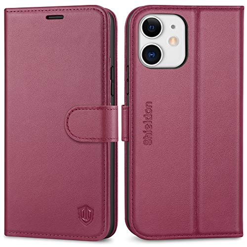 SHIELDON Case for iPhone 12/12 Pro, Genuine Leather Wallet Case with Kickstand RFID Blocking Card Slots Magnetic Shockproof Case Compatible with iPhone 12/12 Pro 5G (6.1') - Red Violet