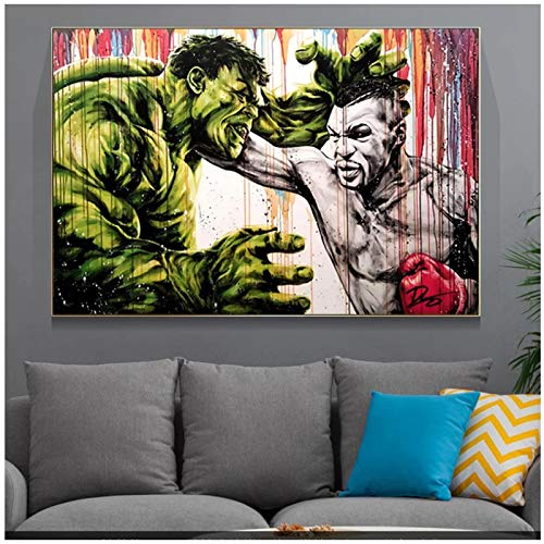 cuadros decoracion salon Hulk Fight Tyson Boxing King Posters e impresiones Graffiti Boxer Dibujos animados Street Art Lienzo Pintura Imagen en el hogar ecor Wall Art 19.7x27.6in (50x70cm) x1pcs NoFr