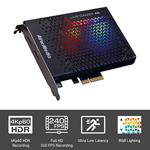 AVerMedia Live Gamer 4K - 4Kp60 HDR Capture Card, Ultra-Low Latency for Broadcasting and Recording PS4 Pro and Xbox One X, PCIe Gen2x4 (GC573)