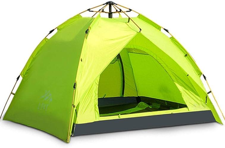 Tente de camping, tente de camping résistante à l'eau pour 3 à 4 personnes avec sac de transport pour la randonnée, idéal pour camping familial décontracté, randonnée pédestre ( Couleur   vert )