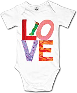 Ghhpws Love from Very Hungry with Caterpillar Baby's Unisex Short Sleeve Comfortable Toddler Bodysuit White