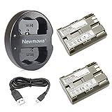 Newmowa BP-511 BP-511A 互換バッテリー 2個+充電器 対応機種 Canon BP-511 BP-511A Canon EOS 5D 10D 20D 30D 40D 50D Rebel 1D D60 300D D30 Kiss Powershot G5 Pro 1 G2 G3 G6 G1 Pro90