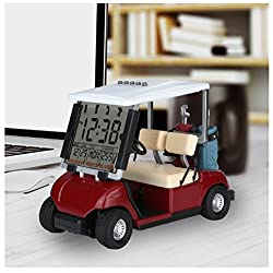 10L0L 2019 Newest Version LCD Display Mini Golf Cart Clock for Golf Fans Great Gift for Golfers Superior Race Souvenir Novelty Golf Gifts(red) (1)