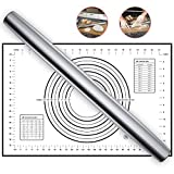 Professional French Rolling Pin for Baking - 16 Inch Smooth Stainless Steel French Roller Pin with...