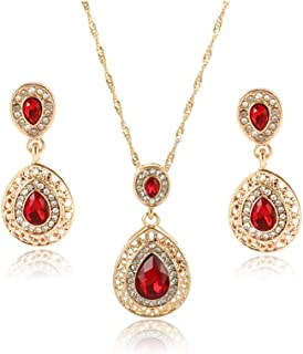 Charm Jewelry Set for Women - Bridal Wedding Crystal Water Drop Pendant Necklaces Earrings Sets Shininy Cubic Zircon Bijoux Best Gift for Bridesmaids