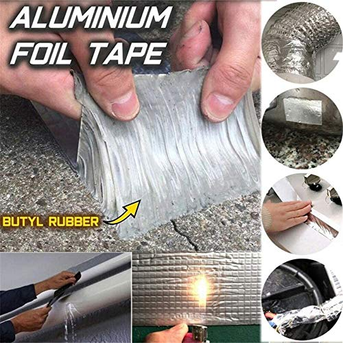GAODA Starke Qualität wasserdichtes Klebeband Butylkautschuk Aluminiumfolie Tape, Magisches Reparaturband für die Reparatur Dachleckage, Fensterbankspalt, Rohrbruch usw. (5x10cm)