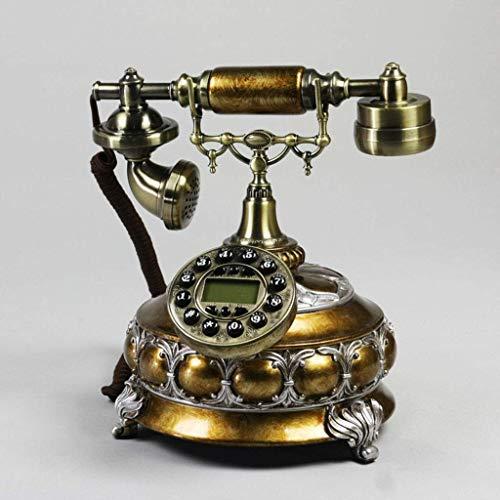 YUBIN Teléfono Teléfono Europeo Hogar a Domicilio Fijo Retro Teléfono Antiguo Teléfono Creativo Antiguo Moda Metal de Resina (Color: Marrón) (Color : Brown)