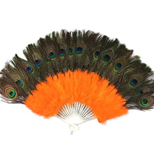 YWLINK Abanicos,Abanico De Plumas De Danza De 21 Huesos Boda Showgirl Danza Elegante Grande Plegable Mano Fan Decor Decal Fiesta De Bodas Carnaval Recuerdo(Naranja)