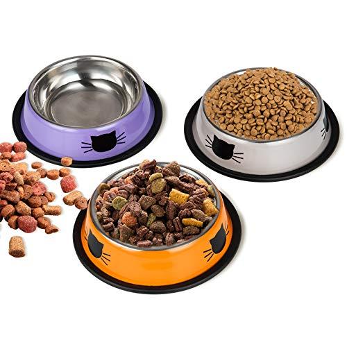 DMSL Katzennäpfe Katzenschüssel Set, 3 Stück rutschfeste Katzennapf aus Edelstahl, Fressnapf Katze Wasserschale, Katzennapf erhöht Näpfe und Tränken für Haustier (P+R+W)