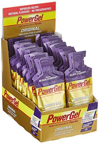 PowerBar Power Gel Original mit Kohlenhydraten, Maltodextrin, Natrium – Energie Gels – Vegan – 50mg Koffein – Black Currant (24 x 41g)
