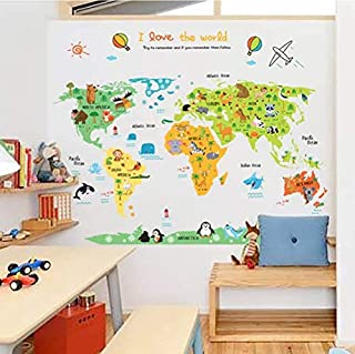Cartoon Colorful Animal World Map Wall Stickers for Kids Rooms Growth Vinyl Map Wall Stickers Removable Home Decor Wall Paper