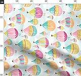 Heißluftballons, Luftballons, Wolken, Rosa, Türkis Stoffe
