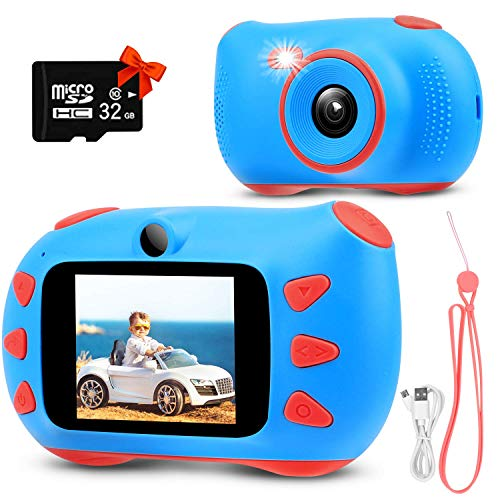Cámara digital para niños, cámara de fotos para niños y niñas, 1080p, mejor regalo de Navidad, cumpleaños, juguetes de 3 a 12 años con pantalla de 2 pulgadas, tarjeta TF 32G (azul) (Kinderkamera Blau)