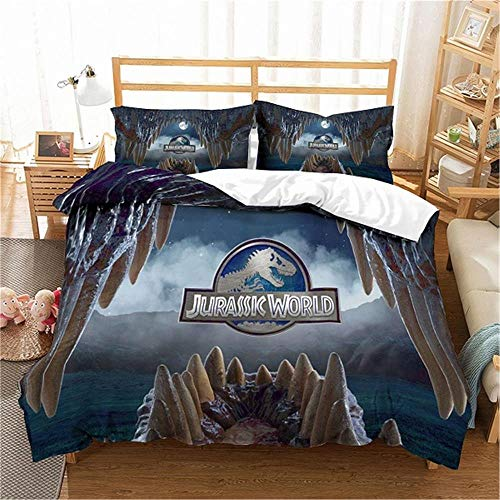 MENGBB Duvet Cover Set 3D Effect Science fiction movies animals dinosaurs 135x200cm Total 4 Size, give away pillowcase, Duvet Cover single bed with 2 Pillow Cases 50x75cm Microfiber Bedding Quilt Cove