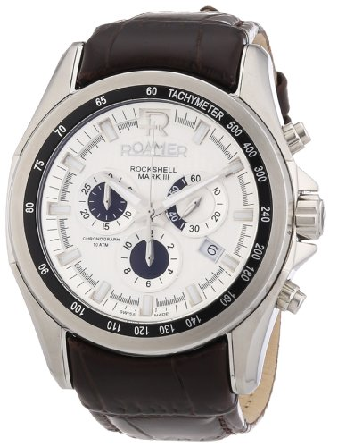 Roamer Herren-Armbanduhr XL ROCKSHELL Chrono Analog Quarz Leder 220837 SL1