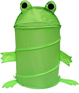 Cartoon Pop Up Animal Laundry Basket Foldable Kids Toys Storage Bin Hamper Tidy Basket Cylinder Sundries Box Clothes Barrel Home Green Frog