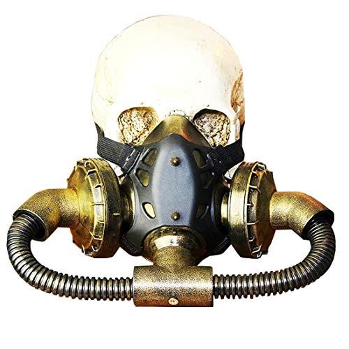 WAVENI Biohazard Steampunk Máscara de Gas Gafas Espigas Esqueleto Guerrero Máscara de la Muerte Mascarada Cosplay Disfraces de Halloween