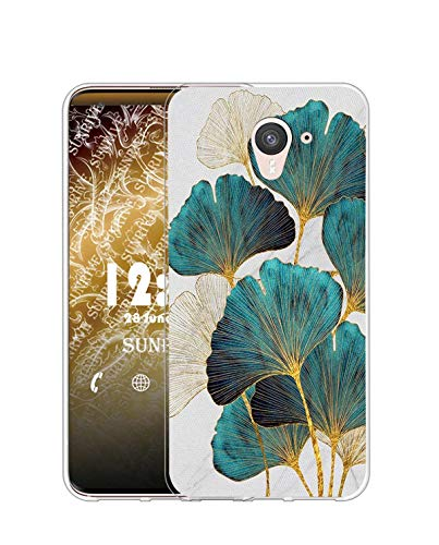 Sunrive Coque Compatible avec Wiko UFeel Prime, Silicone Étui Housse Protecteur Souple Gel Transparent Back Case(Q Feuille)+ Stylet OFFERTS