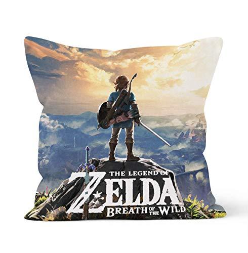 Tainsi Fundas de almohada decorativas de doble cara con cierre de cremallera oculta, regalo de la leyenda de Zelda, se aplica a la decoración del coche, sofá, cama, tamaño 45 cm x 45 cm.