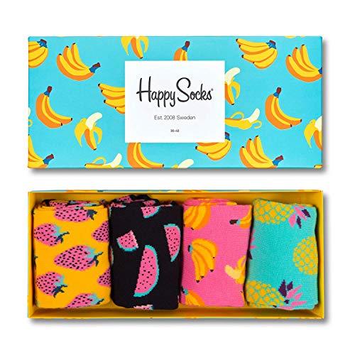 Happy Socks Chaussettes, Multicolore (Fruit Socks Gift Box), Taille Unique (Lot de 4) Homme