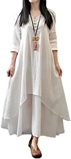 Women Boho Dress Casual Irregular Maxi Dresses Layer Vintage Loose Long Sleeve Linen Dress with Pockets,S-5XL
