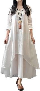Romacci Vestido Suelto Vestido Ocasional de Las Mujeres Manga Larga Sólida Maxi Vestido Largo de Boho