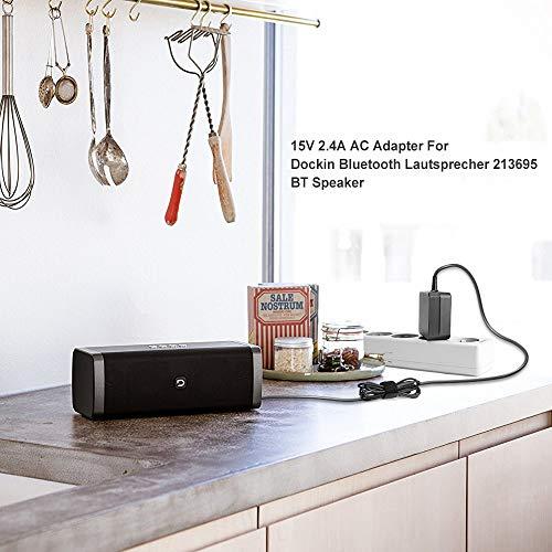 TAIFU 15V 2,4A Netzteil Ladekabel AC/DC Adapter Ladegerät für DOCKIN D FINE Hi-Fi Bluetooth Speaker Wireless Lautsprecher BT, für Marley GET Together EM-JA006-MI EM-JA006SB EU