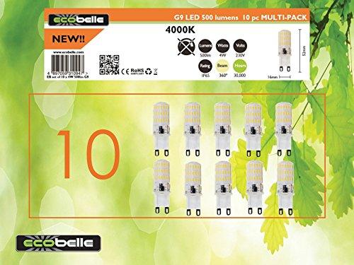 ECOBELLE® 10 x Lampadine LED G9 4W in silicone, 500 Lumen, Bianco Fresco 4000K, Dimensioni ridotte: 5.20 cm x 1.60 cm, Lampadina Potente!!!!
