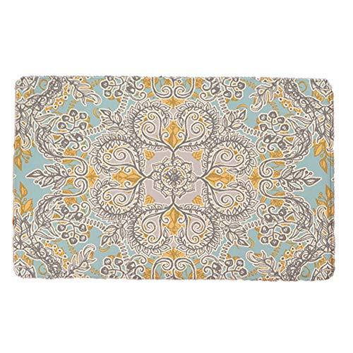 Wifehelper Retro Fußmatte rutschfeste hoch Wasser Staubabsorption Teppich Blume Gemusterte Weiche Flanellmatte(1)