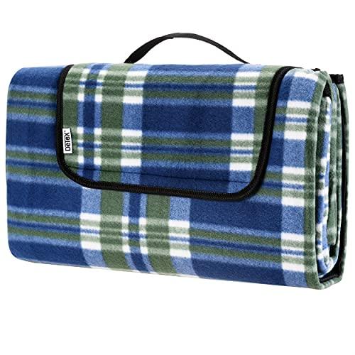 Detex Picknickdecke 195 x 150 cm XXL Wasserdicht Tragbar Faltbar Alu Schaumstoff Fleece wärmeisoliert Blau Campingdecke