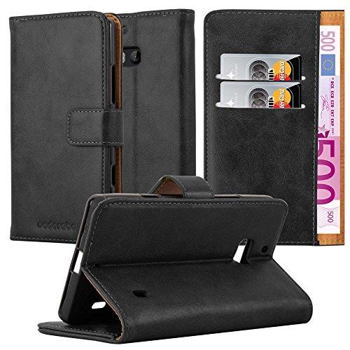 Cadorabo Hülle für Nokia Lumia 929/930 - Hülle in Graphit SCHWARZ – Handyhülle im Luxury Design mit Kartenfach & Standfunktion - Case Cover Schutzhülle Etui Tasche Book