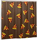 Duschvorhang Süße Pizzascheibe mit Tomaten & Salami Wasserdichter Stoffbadevorhang für Badezimmerdekoration mit Haken 180*180cm180 oein