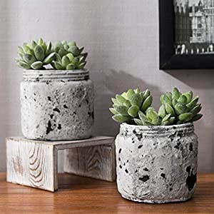Silk Flower Arrangements MyGift 4.7-Inch Artificial Green Succulent Plants in Distressed Gray Ceramic Jars, Set of 2