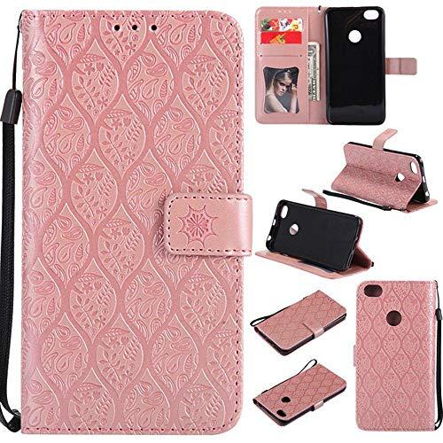 tinyue® Para Xiaomi Redmi Note 5A (Y1 Lite) Funda, Cubierta de Billetera de Cuero PU Tapa abatible Funda, Diseño Hebilla magnética, Funda de Cuero de ratán con Relieve 3D, Rosa Oro