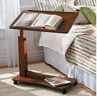 Adjustable Bedside Table With Wheels - Made of Wood - Walnut