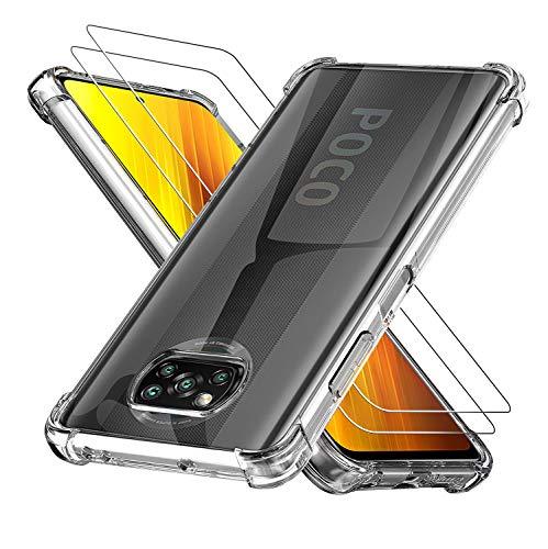 Preisvergleich Produktbild POVINMOS Schutzhülle & Displayschutzfolie für Xiaomi Poco X3 / Xiaomi Poco X3 NFC [Anti-Droping][Kratzfest][Anti-Finger... stoßfeste Schutzhülle