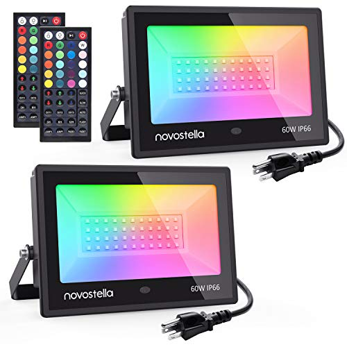 Novostella 2 Pack 60W RGB LED Flood Light, 44 Keys Controller, 20 Colors 6 Modes, Dimmable Color Changing Floodlight, IP66 Waterproof, Wall Washer Lights, Outdoor Garden Stage Landscape Lighting
