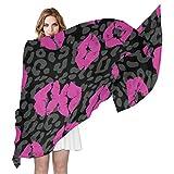 QMIN - Bufanda de seda con estampado de leopardo, sexy, a la moda, larga, ligera, chal de Sheel organizado, bufandas para mujeres y niñas