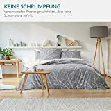 Bedsure Baumwolle Bettwäsche 135x200 cm 4 teilig Grau/Beige Bettbezug Set mit schickem Zweige Muster, weiche Flauschige Bettbezüge mit Reißverschluss und 2 mal 80x80cm Kissenbezug - 4