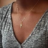 Artmiss Lightning Bolt Pendant Necklace Women Simple Charm Bar Choker Chain Jewelry for Girls (Gold)