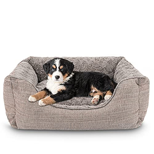 INVENHO Rectangle Dog Bed for Medium Large Dogs Machine Washable with Removable Covers Sleeping Dog Sofa Bed Non-Slip Bottom Breathable Thickened Durable Pet Bed Calming Puppy Cuddler Bed (24', Brown)