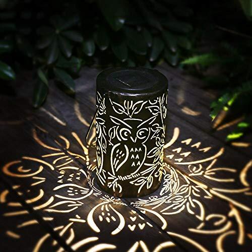 Kaixoxin Solar Laterne Hängende Solarleuchten Außenlaterne Wasserdichte Nachtlicht Gartendekoration Lampe für Garten, Hof, Gehweg, Terrasse, Geschenkferien (Black)