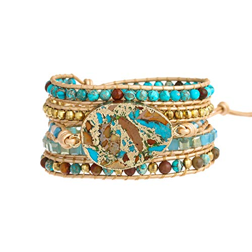 Plumiss Bohemia 5 Wraps Imperial Jasper Bracelet Handmade Multilayer Beaded Jewellery For Women And Girls