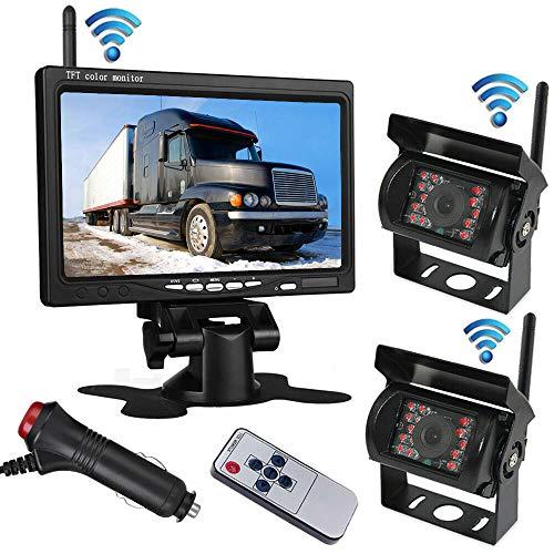 2 x Caméra de recul sans fil 18 LEDs, vision nocturne, vision infrarouge, étanche + moniteur TFT LCD sans fil 2.4G 17,8 cm couleur, pour bus RV Camion Remorque 12 V-24 V