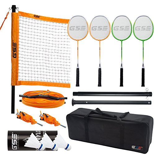 GSE Games & Sports Expert Portable Badminton Complete Set. Including Badminton Net, 4 Badminton Racquets & 3 Shuttlecocks (Recreational Badminton Set)
